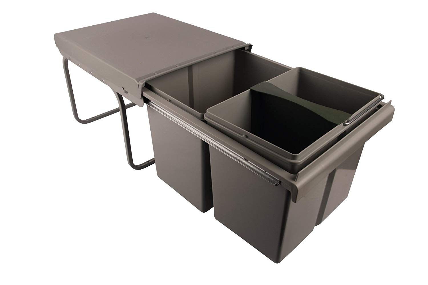 Sanitop-Wingenroth 280174Bin 2x 15L and 1 x 15L/3L/2Double or Triple Divisions, Waste Bin Waste Separator Bin Cabinet Floor Mounting, Full Extension, Plastic/Steel Grey