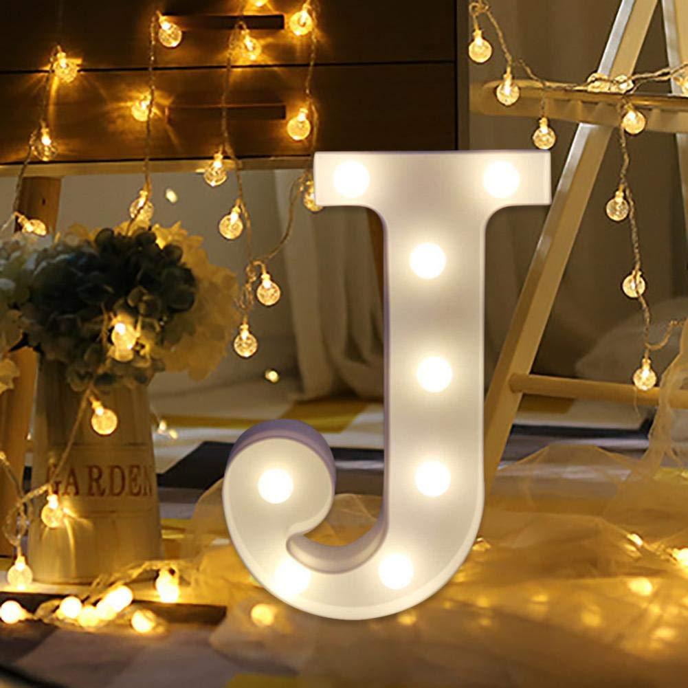 Remote Control Alphabet Letter Lights,Vovomay LED Light Up White Plastic Letters Standing (J)