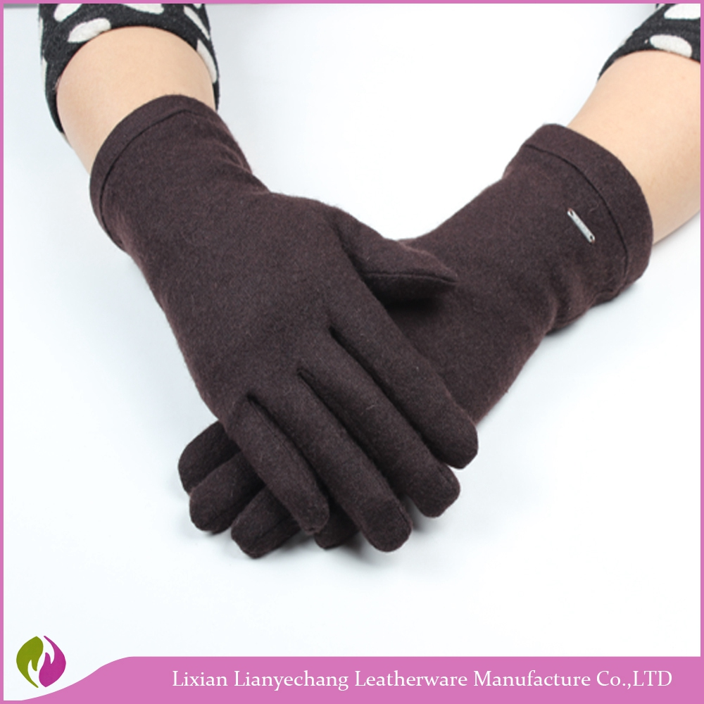 Hot new gloves for 2016 concise long brown fashion cashmere winter gloves factory