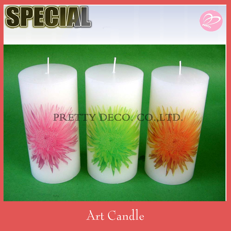 Flower printing style luminaire pillar candles