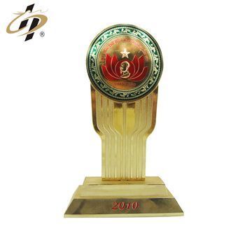 Custom logo zinc alloy metal gold plated souvenir trophy made in China