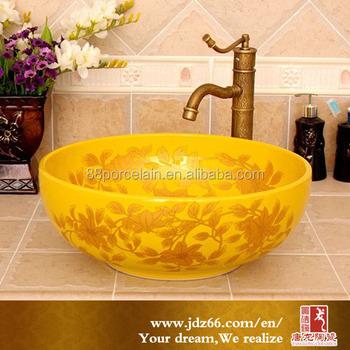 Jingdezhen Porcelain Tanglong Yellow Art Basin