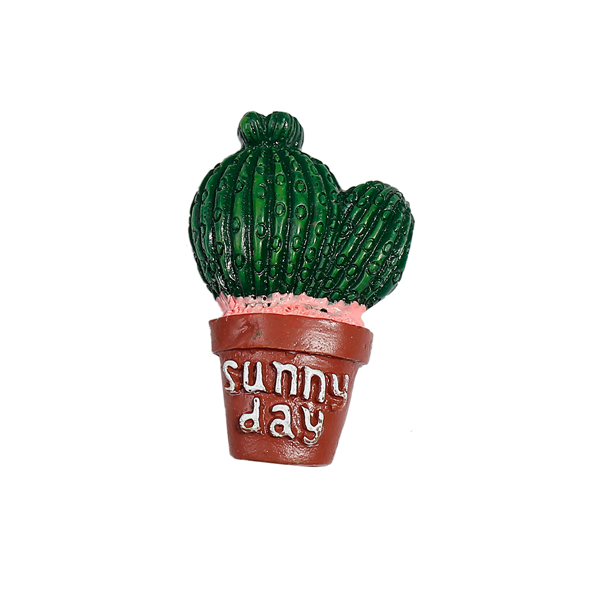 "Resin Cactus Green Message Sunny Day "" Magnet Fridge"