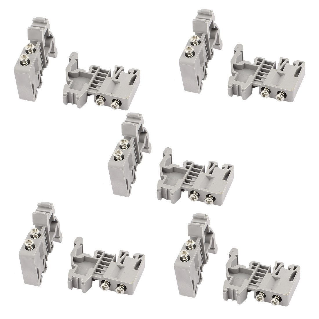 Aexit 10 Pcs E-UK 35mm DIN Rail End Screw Clamp Terminal Fixed Block Gray