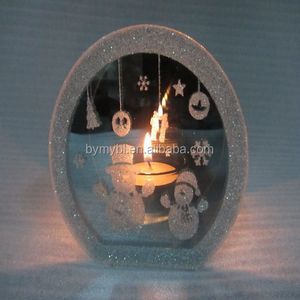 hot sale 2016 christmas endless light snowman mirror candle holder light,light sensitive christmas candles