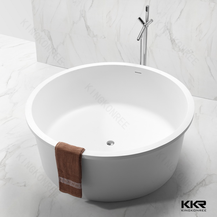 Kkr free standing resin stone japanese soaking bath tub for Freestanding stone resin bathtubs