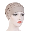 Fashion Hijab Muslim Hat Solid Color Beaded Turban Hat Muslim