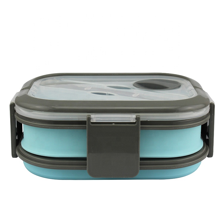 Eco Friendly Silicone Folding Lunch Box Collapsible Lunch Container