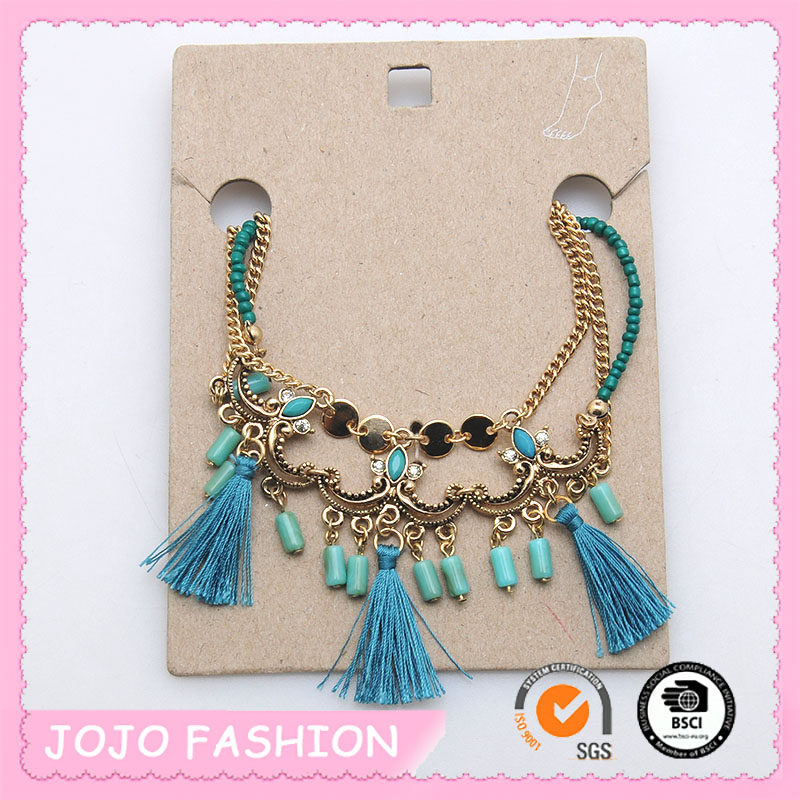 New design wholesale turquoise tassel beaded multi layers anklet