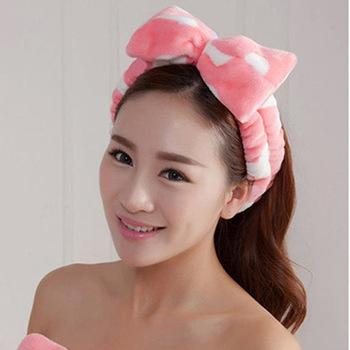 c294dd4e5e3 Women Spa Headband Headwear Hair Bow Dot Striped Soft Shower Bath Makeup  Head Band New Fashion