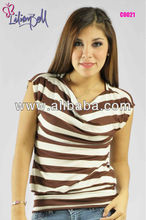 Tshirt neck droped short sleeve with stripes