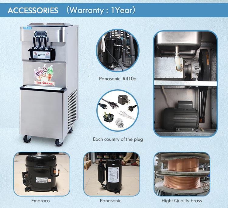 CE ETL certification approved soft serve frozen yogurt real fruits ice cream blender maker mixer machine