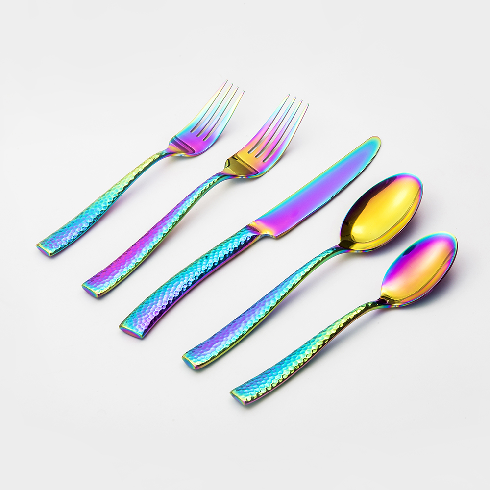 Rainbow Hammered Cutlery Set,Forged Heavy Weight Flatware for Wedding