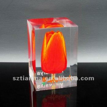 custom acrylic paper weights embedded flower crafts factory