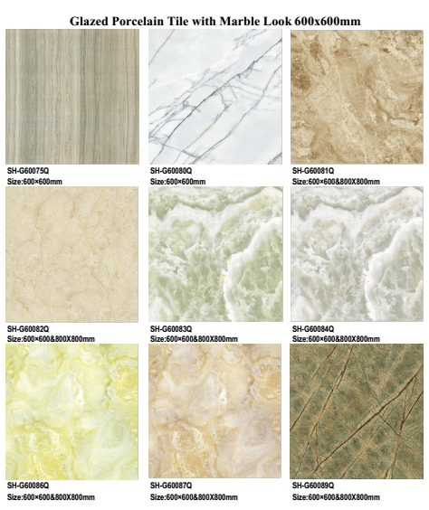 Cheap price flooring tiles types of marbles porcelain for Cheapest type of flooring