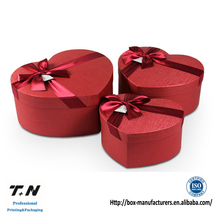 Luxury red heart gift box with ribbon tie for chocolate packaging