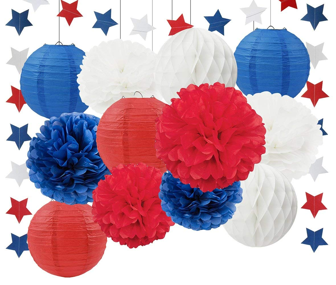Labor Days Party Decorations Veterans Day Party Decorations Patriotic Decorations Navy White Red Tissue Pom Poms Paper Lanterns Paper Honeycomb Ball Blue Red White Paper Star Garland Party Supplies