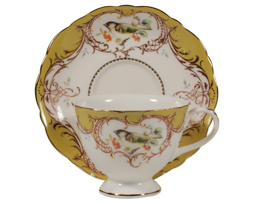Gracie China by Coastline Imports 7-Ounce Tea Cup and Saucer Scallop Edge, Yellow Bird