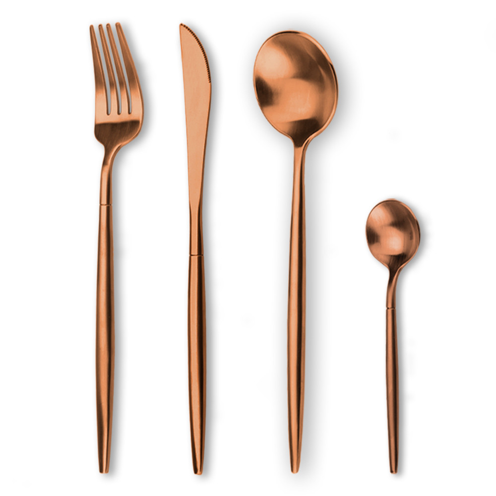 Stainless steel flatware copper fork spoon and knife sets
