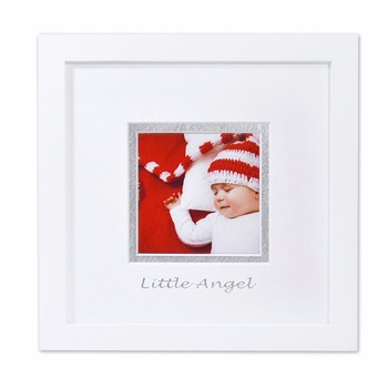 8x8 Baby Square White Wood Photo Frame With Whitesilver Double Mat
