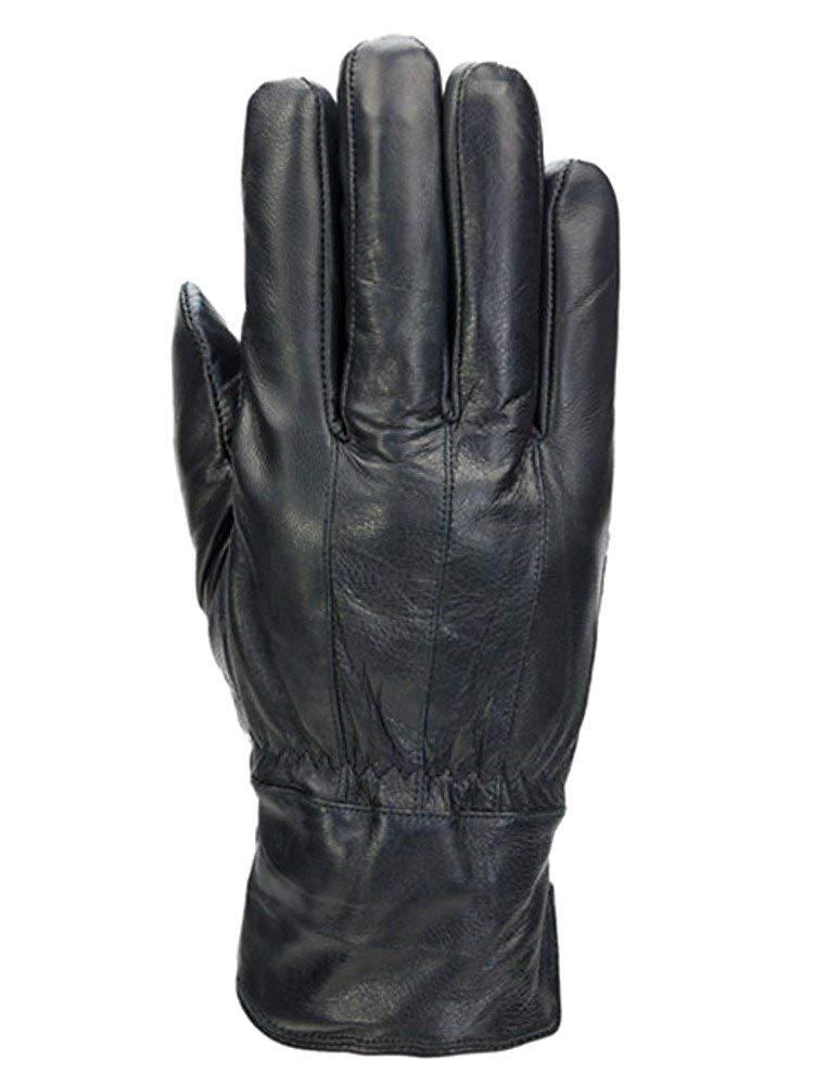 6327fa1d76aad Get Quotations · Mens Black Stripe Leather Thinsulate Touchscreen Text &  Tech Gloves