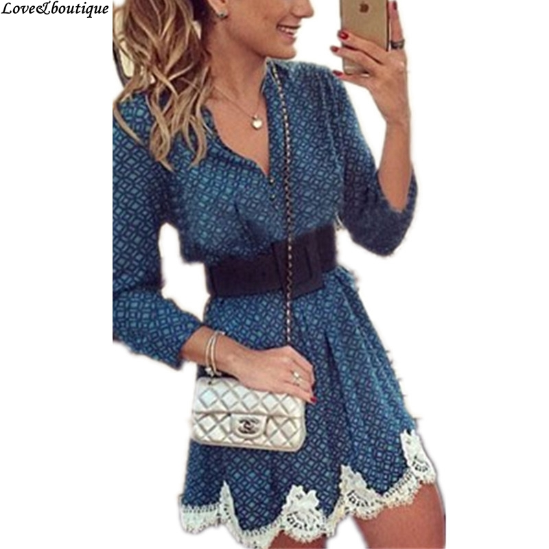 2015 Summer Hot Fall Fashion Women Sexy Party Dress Casual Long Sleeve Vintage Printed Lace Splicing Mini Dress Blue Plus Size