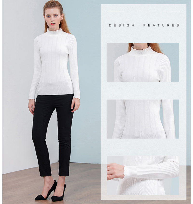 Only Plus Thin White turtleneck sweater slim head bottoming Long ... 8205550ac
