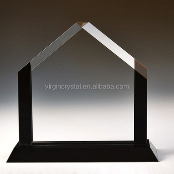 Wholesale Cheap Clear Blank Crystal Glass House Shape Award Trophy Plaques  For Business Souvenir