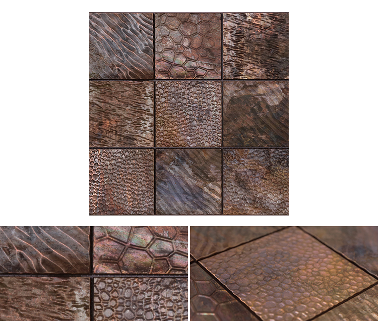 mosaic for luxury wall tile new trend modern wall decoration premium square bronze mosaic tiles metal mosaic