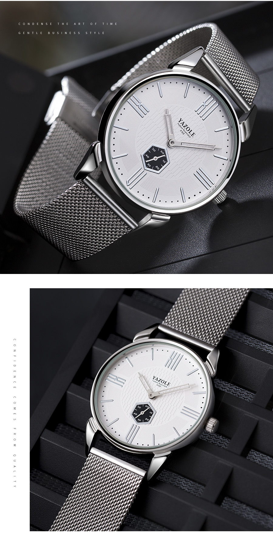 Yazole Z 432 High quality  wrist watch for men quartz stainless steel luxury watches for men