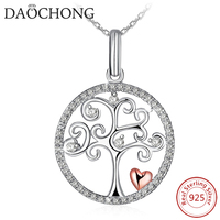 Fine Jewelry Cubic Zirconia Tree of Life 925 Sterling Silver Necklace