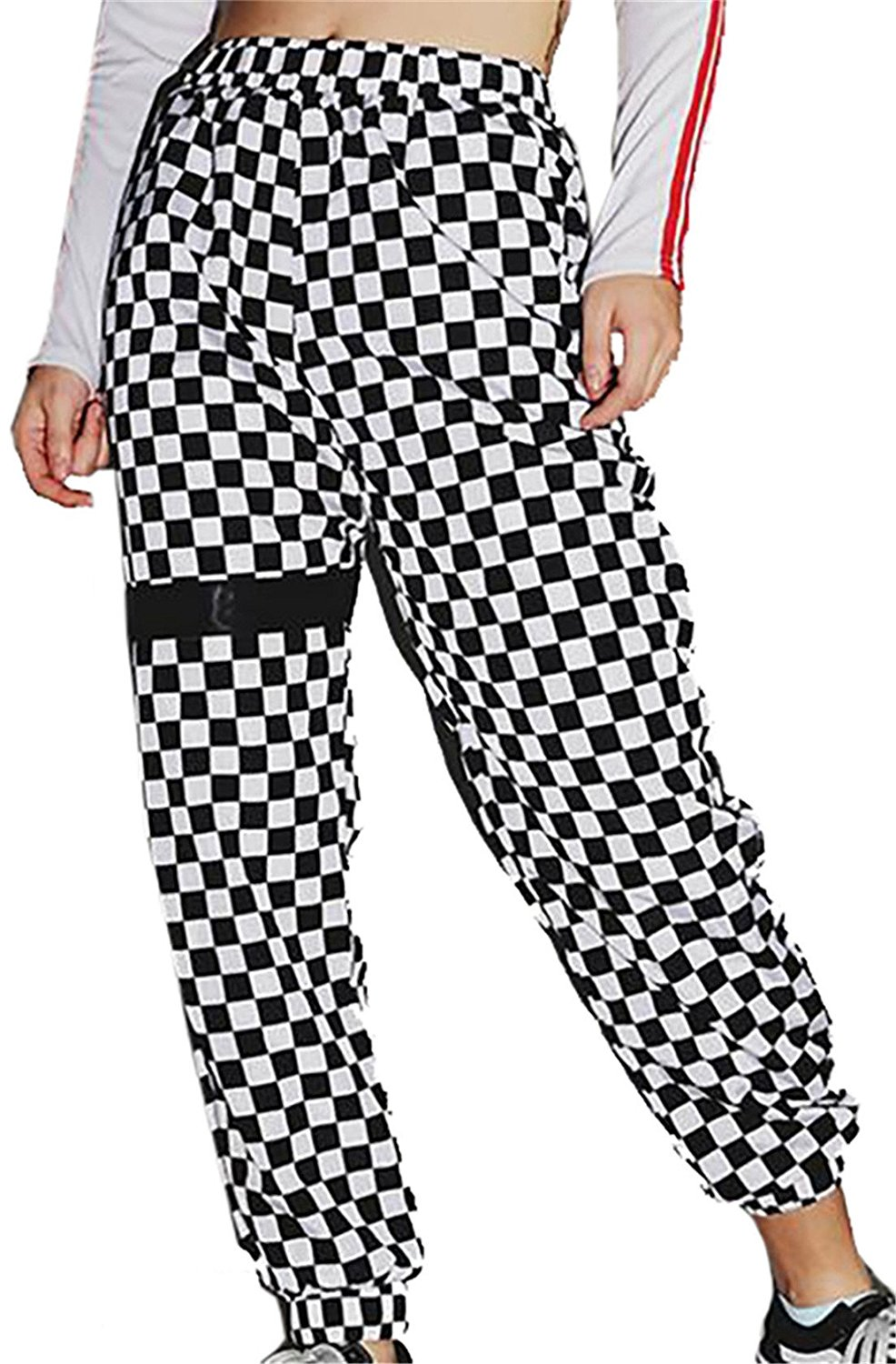 4e471eac2 Get Quotations · GRMO-Women High Waist Checkered Closed Bottom Pants Jpgger Harem  Pants Trousers