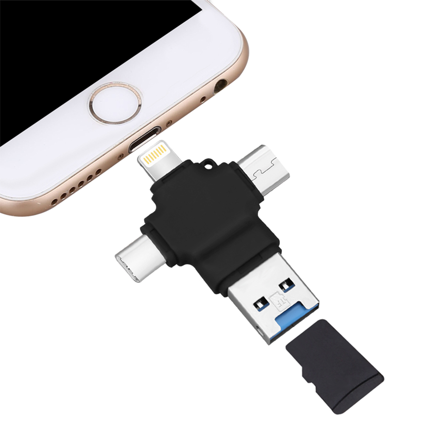 4 in 1 <strong>OTG</strong> phone <strong>usb</strong> <strong>flash</strong> <strong>drive</strong> type C Micro <strong>USB</strong> Micro TF Card reader for Android ipad/iphone MacBook <strong>OTG</strong> TF SD reader