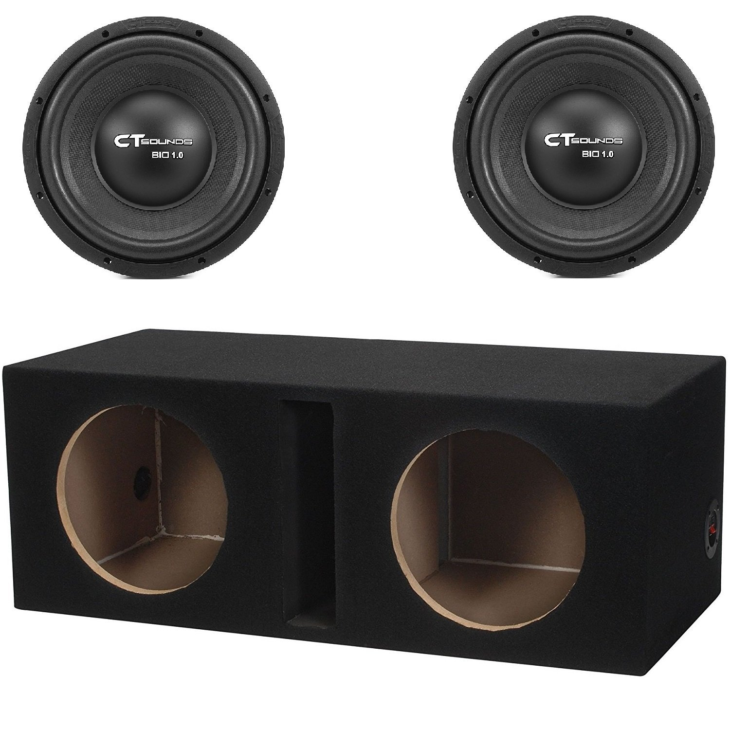Dual 10 Inch Car Subwoofer Bass Package with Ported Box by CT Sounds