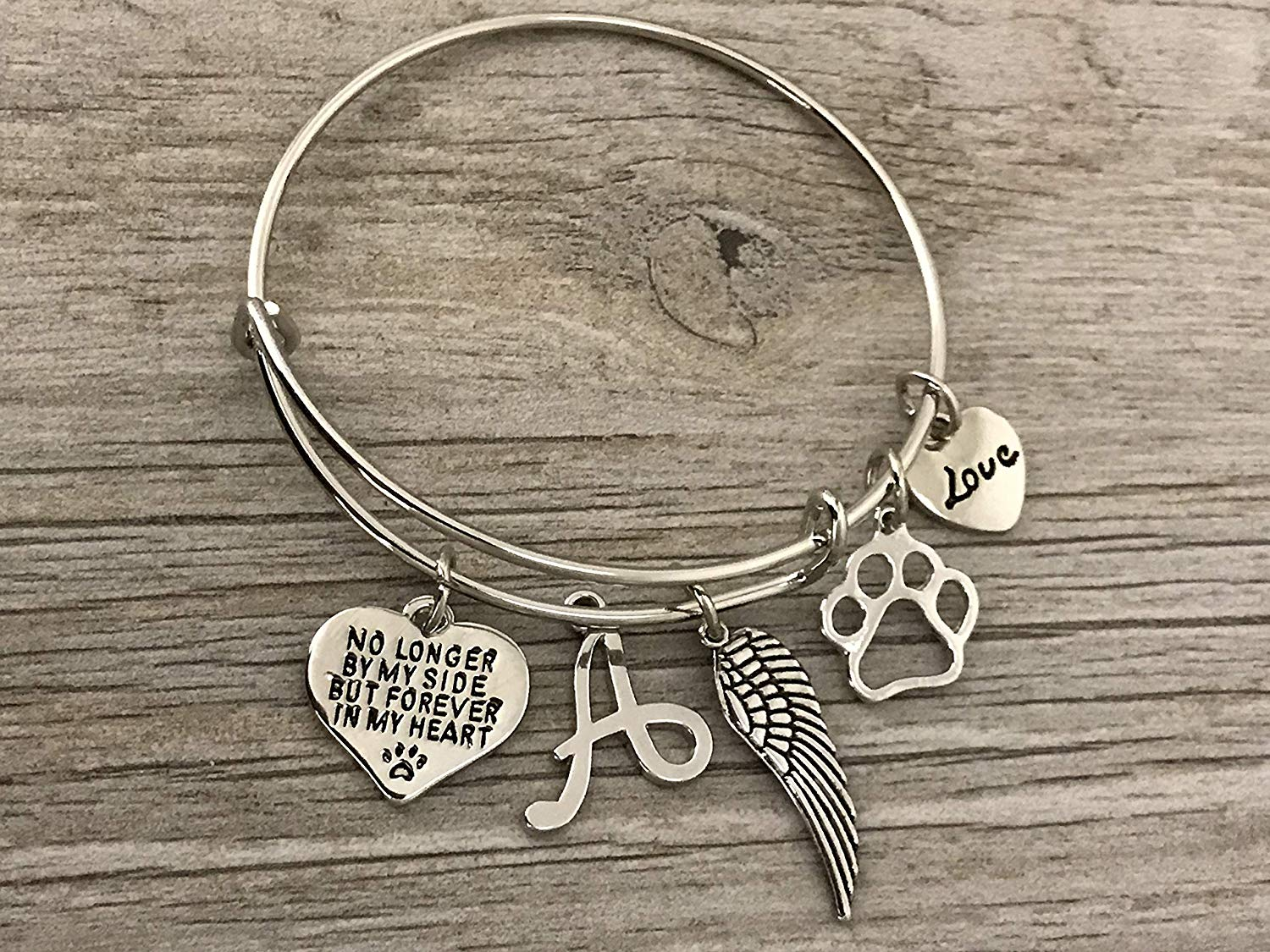 387b8e7ac Personalized Dog Memorial Bracelet with Letter Charm, Custom Dog Charm  Jewelry - Paw Print Jewelry