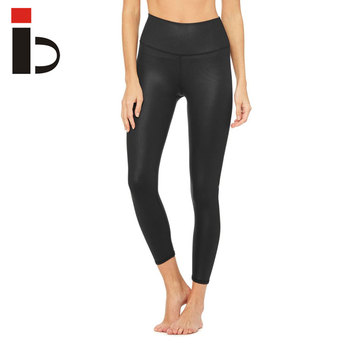 12a9946517f7f OEM factory plain black women sport leggings shiny fabric jogging tights yoga  pants