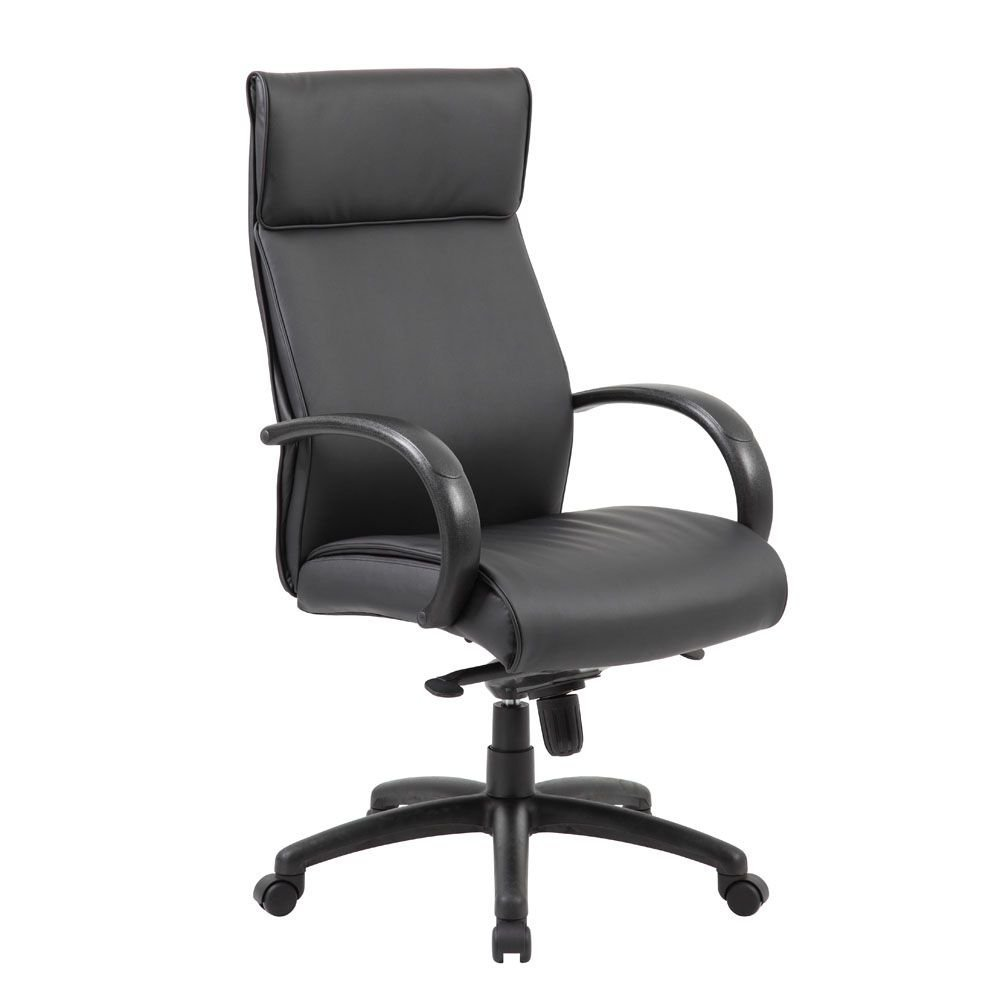 "Peck High Back Conference Chair with Polyurethane Arms Dimensions: 27""W x 29.5""D x 45-48""H Seat Dimensions: 20""Wx19.5""Dx19-22""H Black Faux Leather/Black Arms and Base"