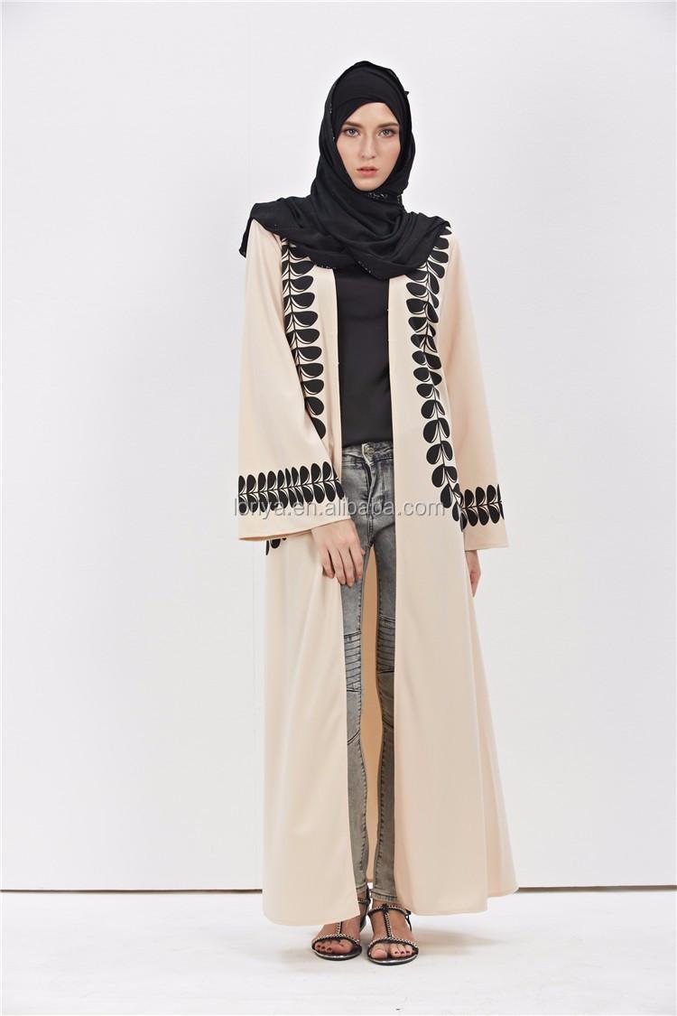 3701643c0d 2016 Adult Casual lace Cotton Robe MuslimahTurkish Printed Open Abaya  Muslim Dress Cardigan Robes Arab