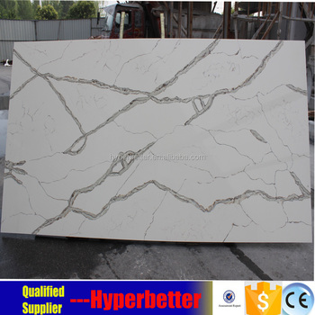 Artificial white calacatta quartz slabs