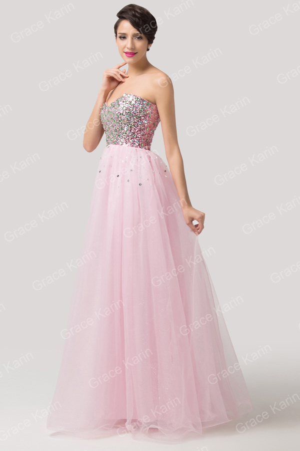 Grace Karin Girls Strapless Sweetheart Soft Tulle Sequins Prom ...
