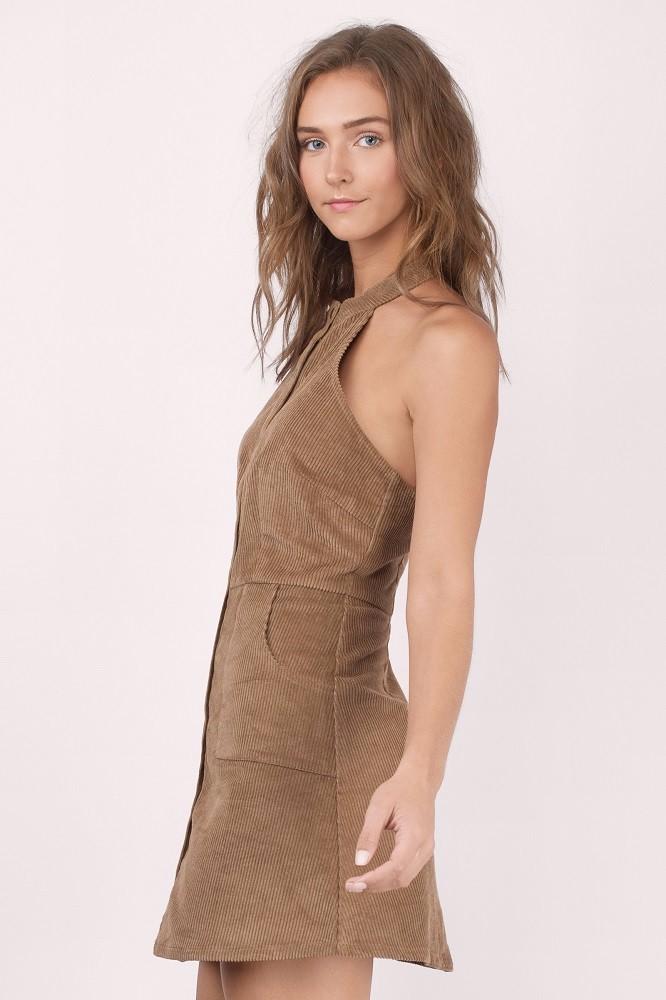 f8bc0022801 High Quality Corduroy Halter Neck Sexy Summer Micro Mini Dress - Buy ...