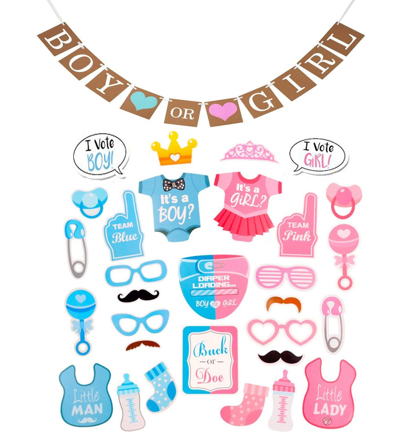 Gender Reveal Boy or Girl Photo Booth Props and Bunting Banner Party Pack,Baby Shower Party Favors Decoration Pregnancy Announcement by Fashionclubs