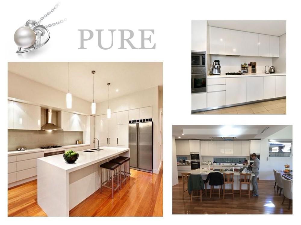 2018 Modern White Fiber Board Kitchen Cabinet With Island ...
