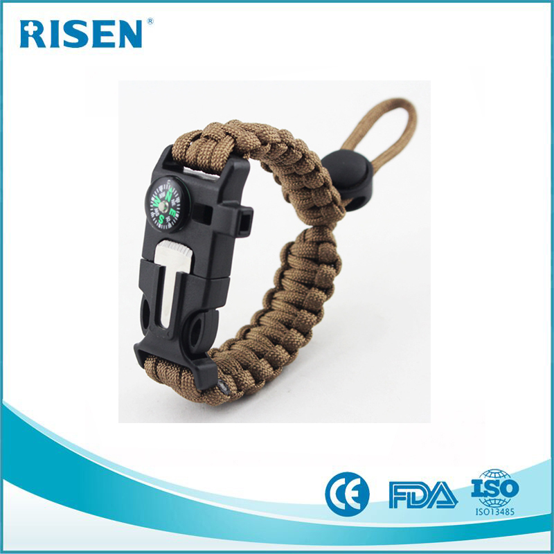 Military Braided adjustable Paracord Survival Bracelet With Fire Starter/Whistle/Knife