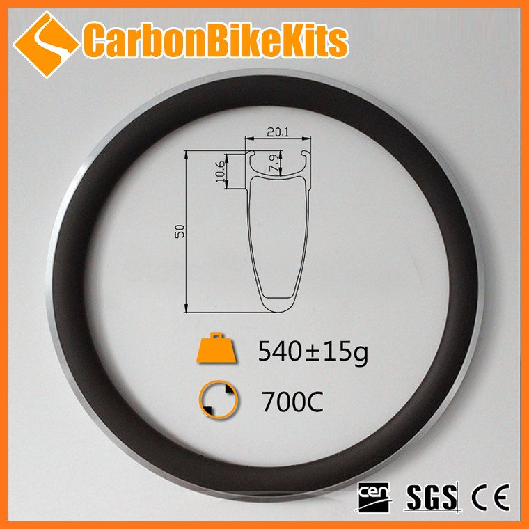 CarbonBikeKits china supplier 50mm deep clincher light aloy 700c rims carbon CA50-20
