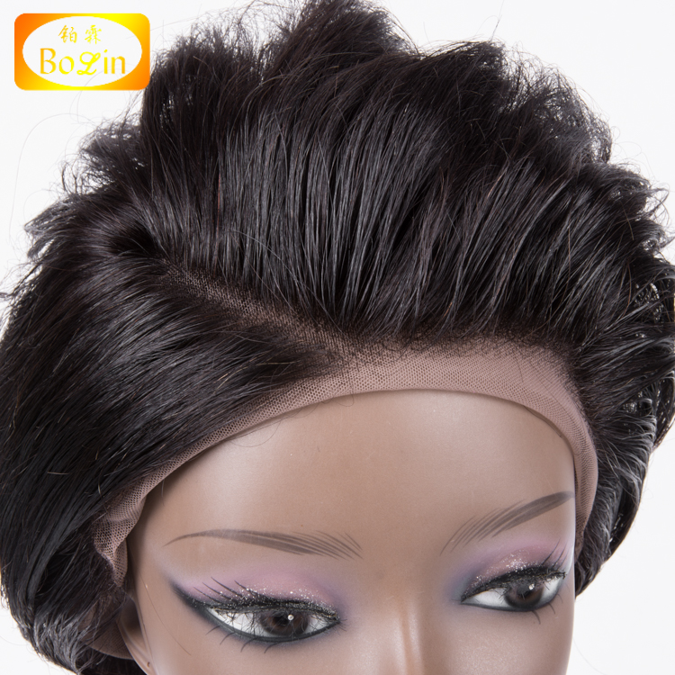 Top Quality Mink Brazilian Lace Wig Human Hair Color 1b Side Part 8A Grade Short Brazilian Hair Full Lace Wig