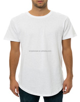 Longline curved hem mens white t shirt with high quality