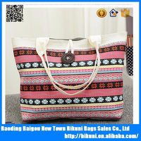 2015 Fashion national design women printed canvas tote bag
