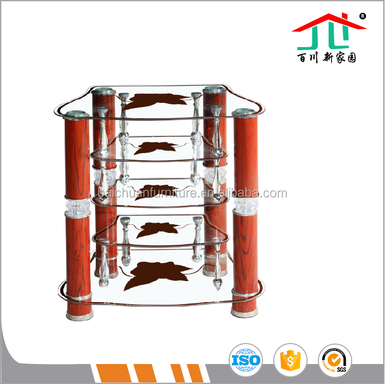 Fashion style Tempered Glass with Metal Tube TV Stand
