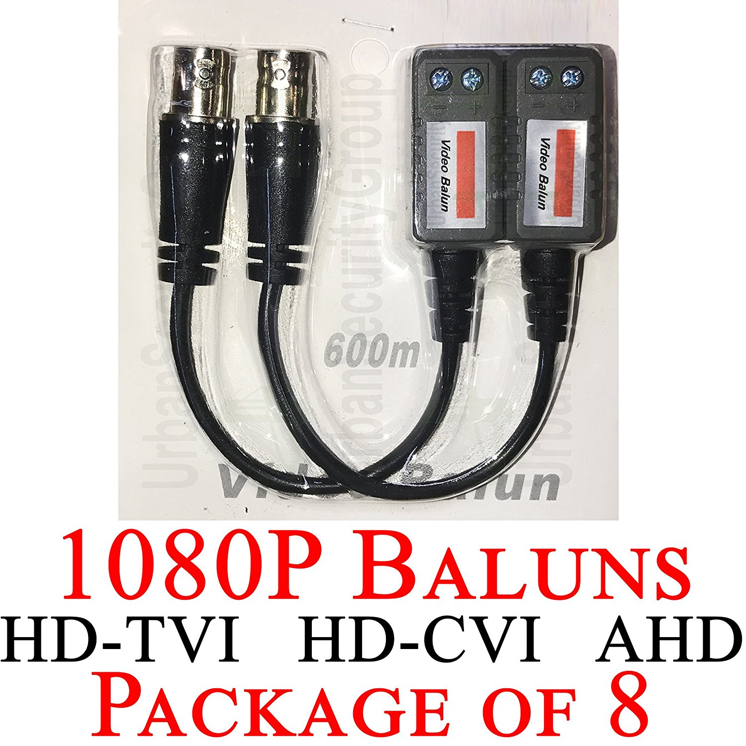 USG Premium Pack of EIGHT (8x) HD 1080P CCTV Balun Transceiver : BNC + 2-Wire Screw Terminal : Video Over UTP Network Cable : ACTIVE : Transmit 1080p Video Signal For HD-TVI, HD-CVI, AHD Equipment
